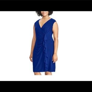 Plus Size Chaps Ruffled Faux-Wrap Dress 18w